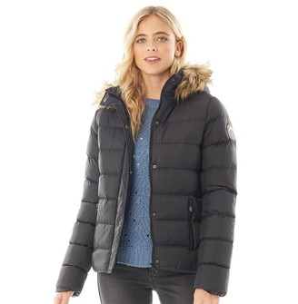 Fluid Womens Hooded Puffer Jacket Black