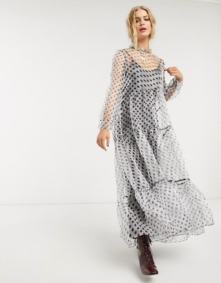 Sister Jane DREAM maxi smock dress with tiered skirt and bow back in polka dot organza