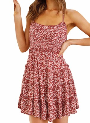 CORAFRITZ Womens Floral Print Strappy Casual Dress Ladies Babydoll Sleeveless Summer Mini Dress U Neck Tunic Beach Dress Swing Dress Yellow