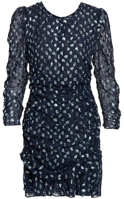 Tanya Taylor Raven Metallic Polka Dot Stretch-Silk Sheath Dress