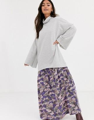 Asos DESIGN sweat maxi dress in gray with floral print hem
