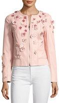 Elie Tahari Glenna Leather Moto Jacket w/ Floral Appliqué;