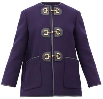 Gucci Horsebit Pressed Wool-blend Coat - Womens - Blue