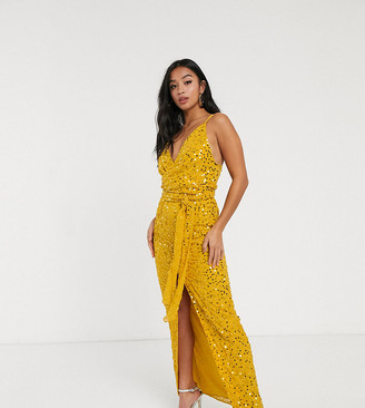 ASOS DESIGN Petite strappy scatter sequin embellished wrap maxi dress