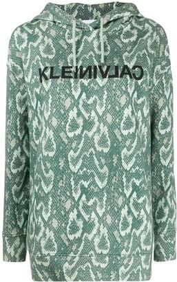 Calvin Klein Snakeskin Print Cotton Hoodie