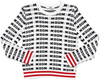 MSGM Logo Jacquard Knit Cotton Sweater