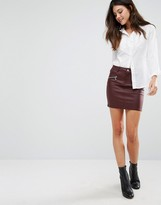 Vero Moda Coated Mini Skirt With Zip Detail