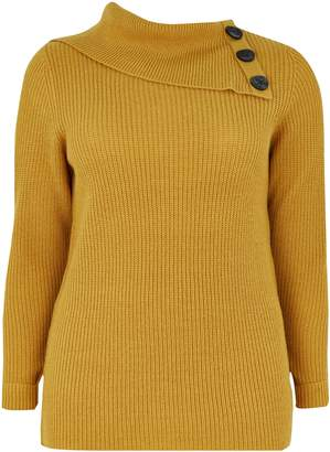Evans Yellow Split Neck Button Detail Jumper