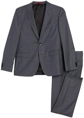 BOSS Jeffrey Medium Grey Two Button Notch Lapel Wool Suit