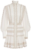 Zimmermann Super 8 Corded Turtleneck Puff-Sleeve Mini Dress