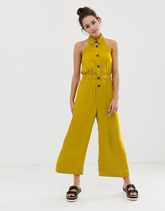 ASOS DESIGN button front collar culotte jumpsuit