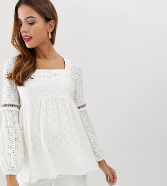 Mama Licious Mamalicious maternity broderie square neck smock top