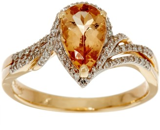 Pear Shaped Imperial Topaz & Diamond Ring 14K Gold 1.35 ct