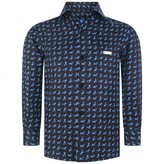 Paul & Joe Boys Navy Aeroplane Silk Shirt