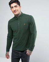 Farah Merriweather Pique Polo Long Sleeve Slim Fit in Green Marl
