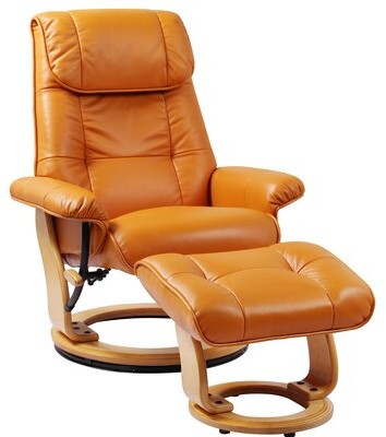 Latitude Run Beaucet Manual Swivel Recliner With Ottoman Fabric Orange Shopstyle