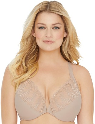 Glamorise Women's Plus-Size Full Figure Front Close Lace T-Back Wonderwire Bra #1246 Bra Cafe 36G