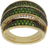 Judith Ripka 14K Clad Chrome Diopside & Diamonique Pave Ring