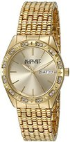 August Steiner Women's AS8177YG Yellow Gold Crystal Accented Quartz Watch with Gold Dial and Yellow Gold Bracelet