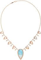 Jacquie Aiche Pave Aquamarine Teardrop 8 Diamond 8 Moonstone Teardrop Necklace