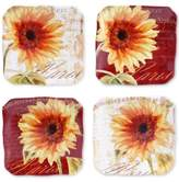 Certified International Paris Sunflower Set of 4 Canape Plates