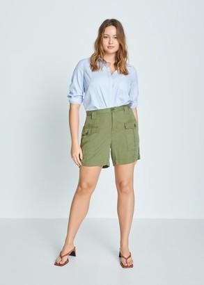 MANGO Violeta BY Pocket lyocell shorts khaki - S - Plus sizes