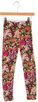 Oscar de la Renta Girls' Floral Print Knit Leggings