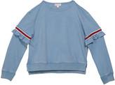 Design History Girls Girl's Varsity Striped Ruffle Trim Sweatshirt, Size S-XL
