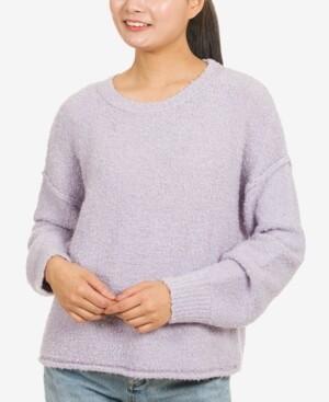 Hippie Rose Juniors' Boxy Boucle Sweater