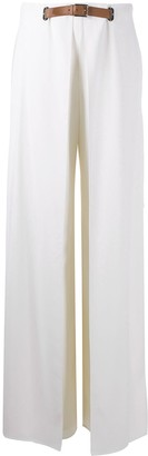 Ralph Lauren Palazzo Trousers With Leather Belt Detailing
