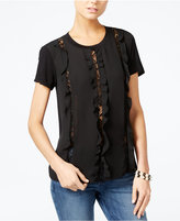 GUESS Harper Lace-Trim Ruffled Top