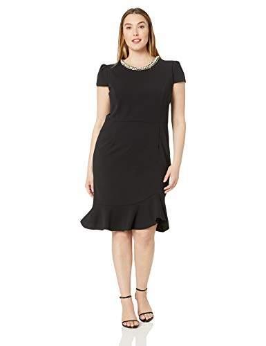 Women\'s Plus-Size Scuba Crepe Dress with Pearl Collar