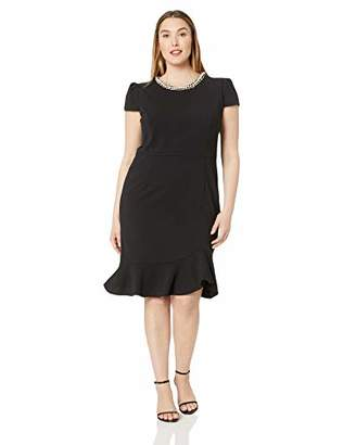 Betsey Johnson Women's Plus-Size Scuba Crepe Dress with Pearl Collar