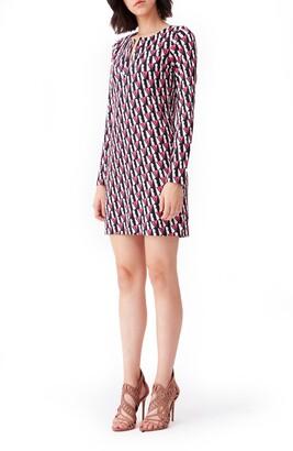 Diane von Furstenberg Reina Silk Print Long Sleeve Dress