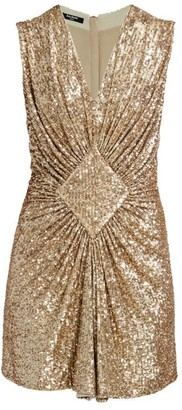 Balmain Sleeveless Gathered Sequin Dress