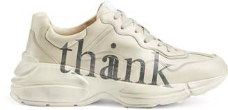 Gucci Men's 'think/thank' print Rhyton sneaker