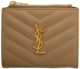 Saint Laurent Beige Monogramme Zippered Bifold Wallet