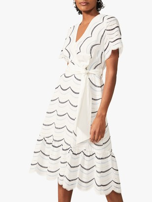 Phase Eight Amelina Tie Waist Embroidered Dress, Ivory