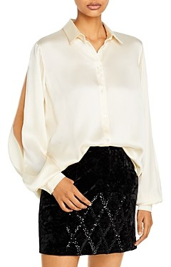 Redemption Slit Sleeve Collared Silk Shirt