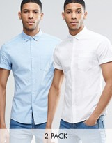 Asos Skinny Oxford 2 Pack In White And Blue With Short Sleeves