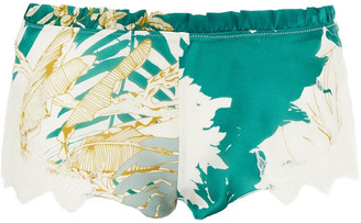 Carine Gilson Lace-trimmed Floral-print Silk-blend Voile Shorts