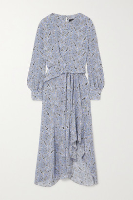 Isabel Marant Romina Asymmetric Paisley-print Silk-crepe Midi Dress - Light blue
