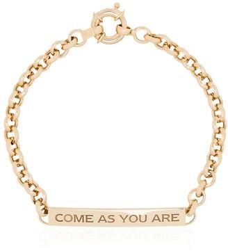 Dru 14kt gold engraved link bracelet