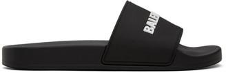Balenciaga Black and White Rubber Logo Pool Slides