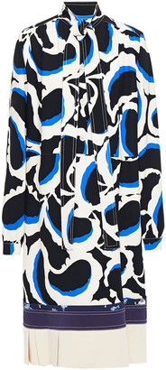 Marni Tie-neck Printed Crepe Dress