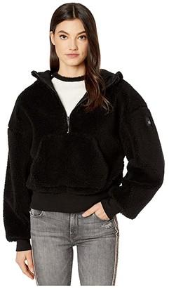 Alo Streetside 1/2 Zip Hoodie (Black) Women's Clothing