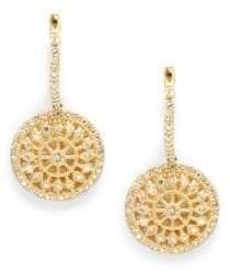 Effy Diamond & 14K Yellow Gold Medallion Drops