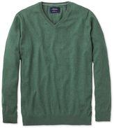Charles Tyrwhitt Mid Green Cotton Cashmere V-Neck Cotton/cashmere Sweater Size Medium