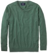 Charles Tyrwhitt Mid Green Cotton Cashmere V-Neck Cotton/cashmere Sweater Size XXL