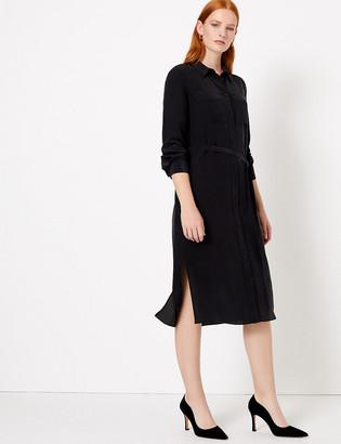 Marks and Spencer Pure Silk Midi Shirt Dress